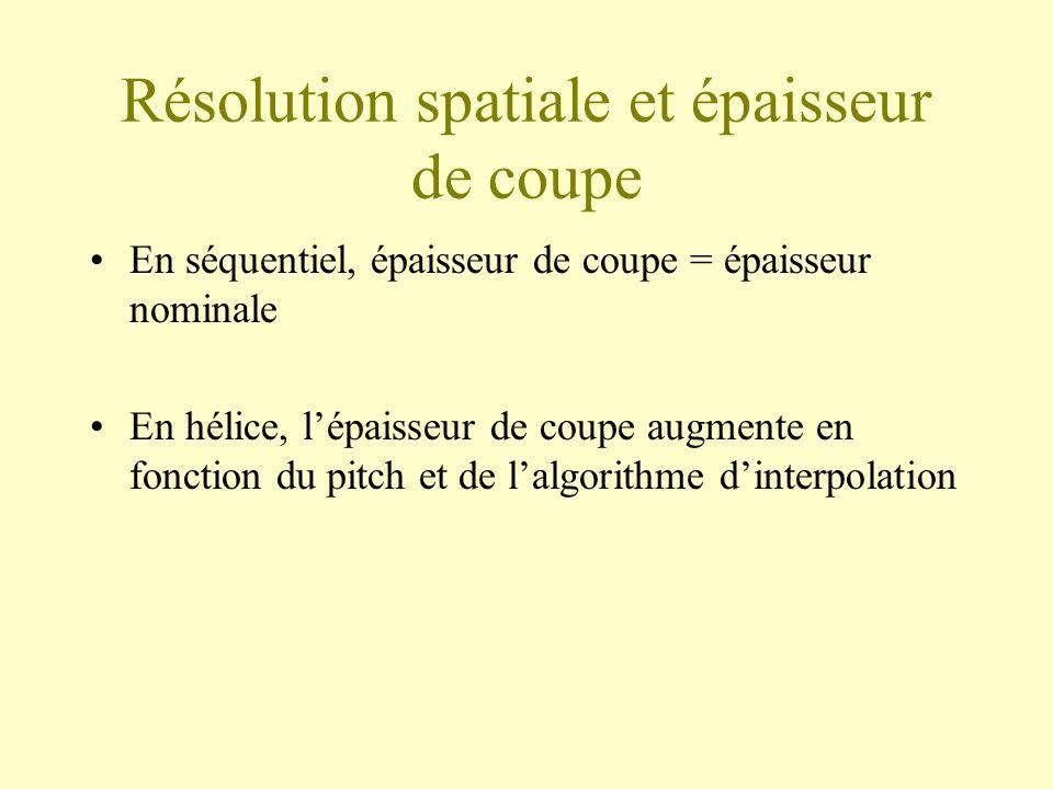 Résolution spatiale et épaisseur de coupe En séquentiel, épaisseur de coupe = épaisseur nominale En hélice, lépaisseur de coupe augmente en fonction d