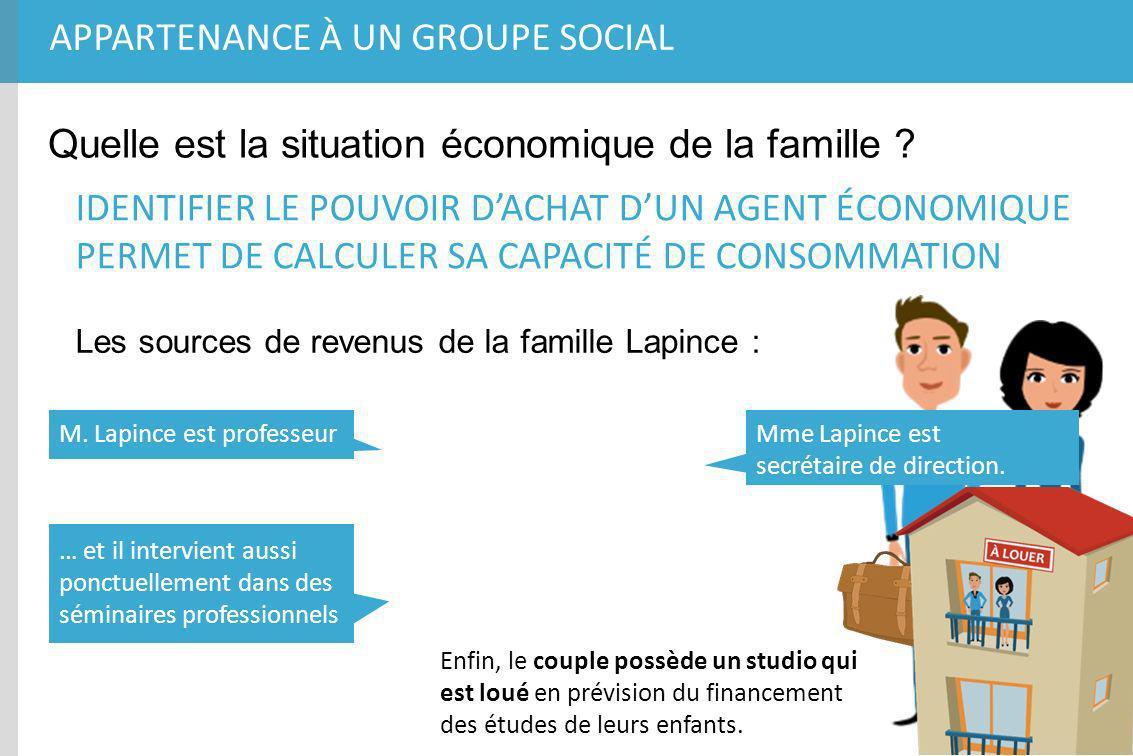 APPARTENANCE À UN GROUPE SOCIAL Quelle est la situation économique de la famille ? IDENTIFIER LE POUVOIR DACHAT DUN AGENT ÉCONOMIQUE PERMET DE CALCULE