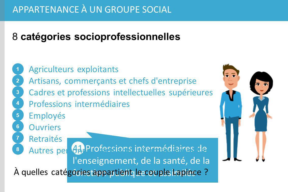 APPARTENANCE À UN GROUPE SOCIAL 8 catégories socioprofessionnelles Agriculteurs exploitants 2 1 3 4 5 6 7 8 4 5 Artisans, commerçants et chefs d'entre