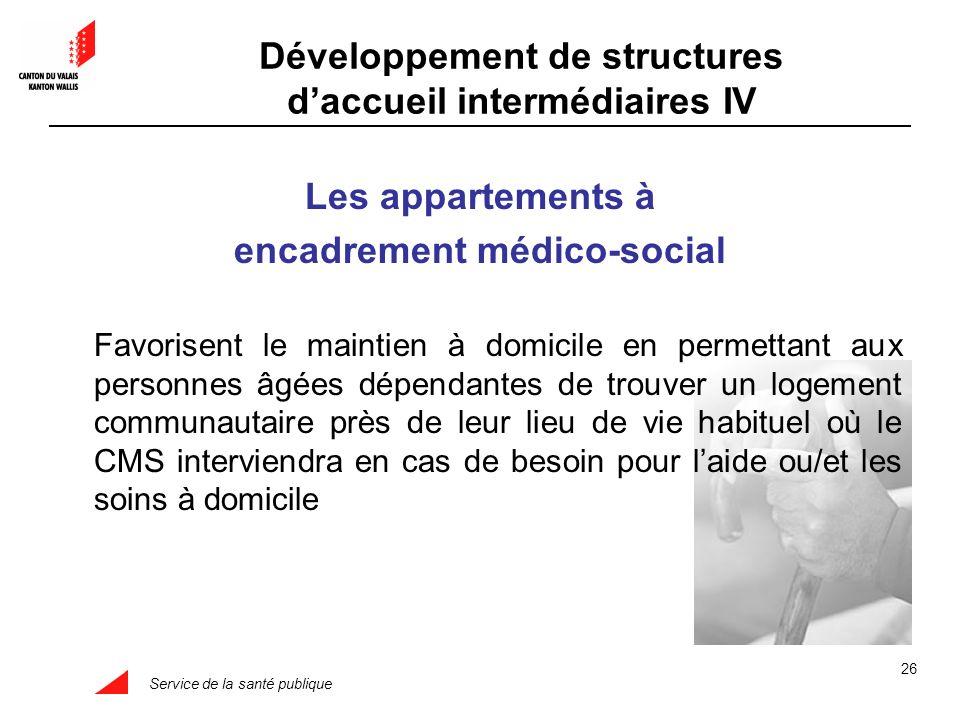 Service de la santé publique 26 Les appartements à encadrement médico-social Favorisent le maintien à domicile en permettant aux personnes âgées dépen