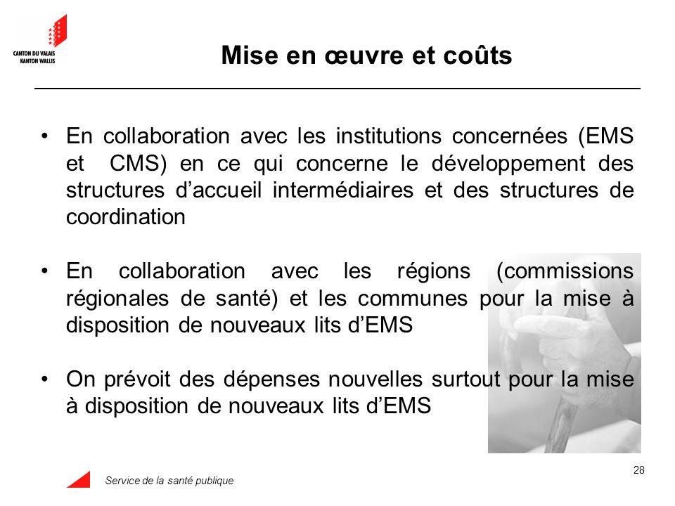 Service de la santé publique 28 Mise en œuvre et coûts En collaboration avec les institutions concernées (EMS et CMS) en ce qui concerne le développem