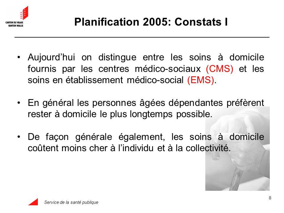 Service de la santé publique 8 Aujourdhui on distingue entre les soins à domicile fournis par les centres médico-sociaux (CMS) et les soins en établissement médico-social (EMS).