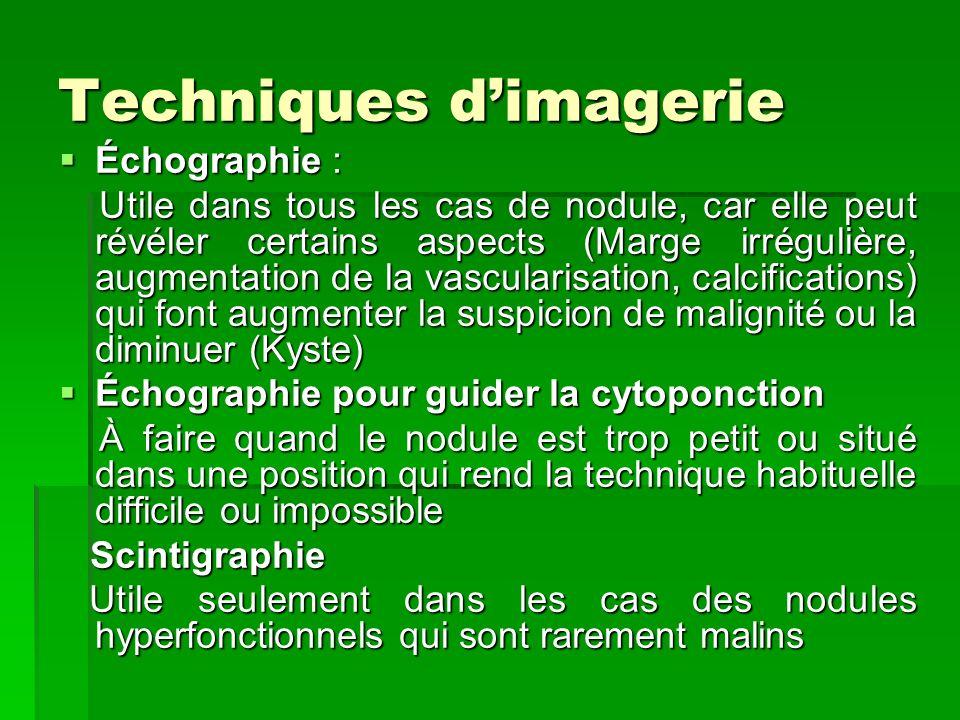 Techniques dimagerie Échographie : Échographie : Utile dans tous les cas de nodule, car elle peut révéler certains aspects (Marge irrégulière, augment