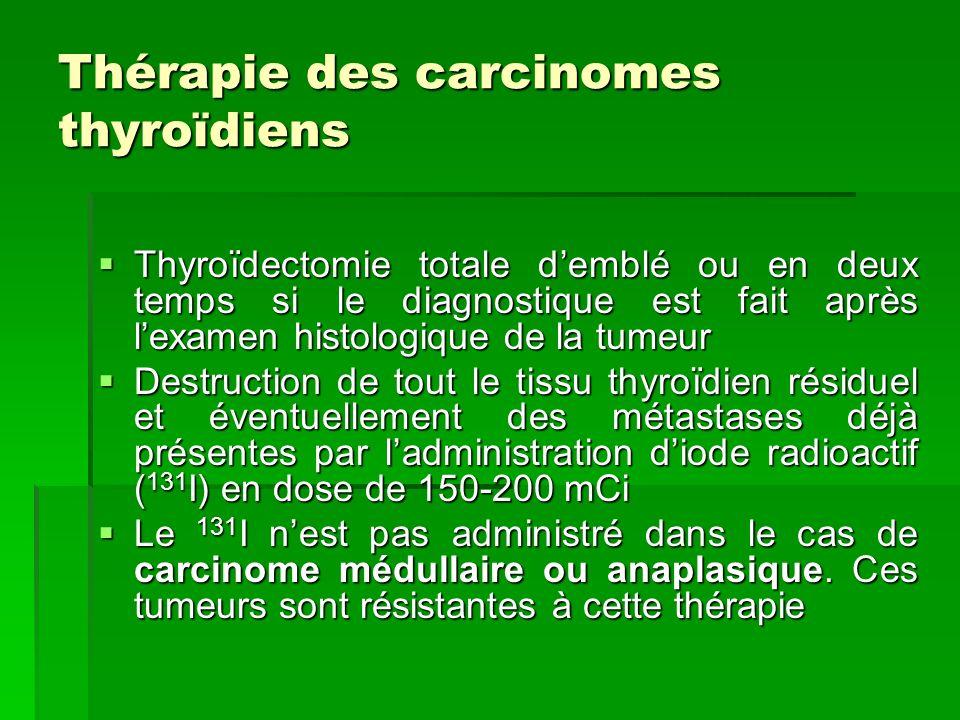 Thérapie des carcinomes thyroïdiens Thyroïdectomie totale demblé ou en deux temps si le diagnostique est fait après lexamen histologique de la tumeur
