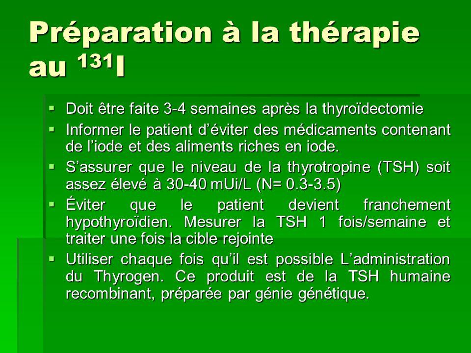 Préparation à la thérapie au 131 I Doit être faite 3-4 semaines après la thyroïdectomie Doit être faite 3-4 semaines après la thyroïdectomie Informer