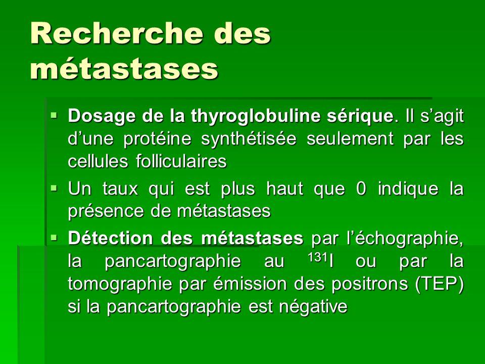 Recherche des métastases Dosage de la thyroglobuline sérique. Il sagit dune protéine synthétisée seulement par les cellules folliculaires Dosage de la
