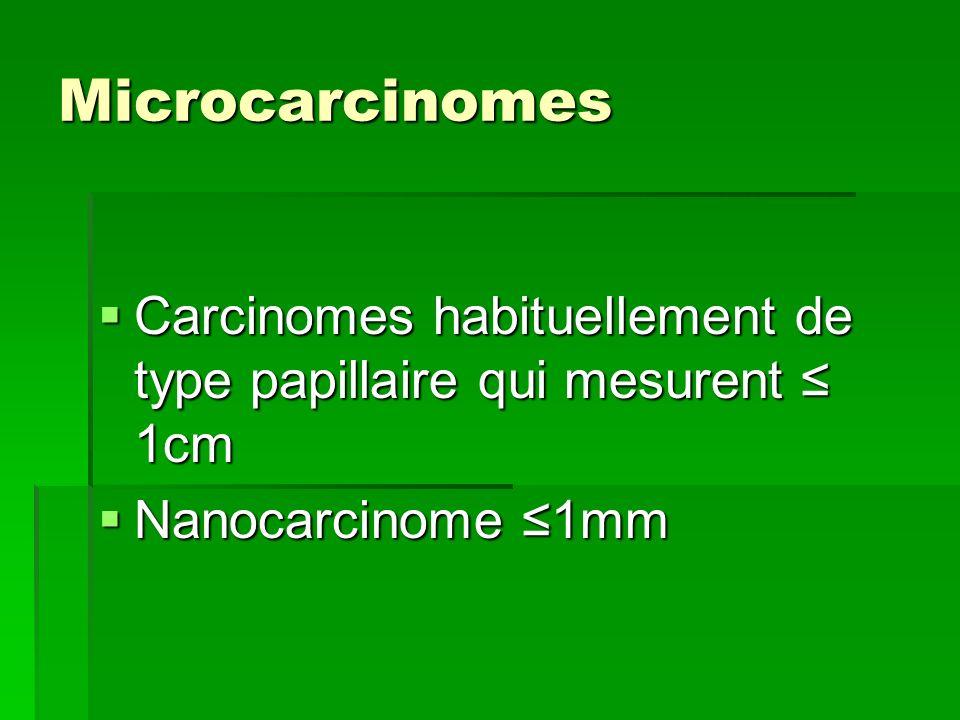 Microcarcinomes Carcinomes habituellement de type papillaire qui mesurent 1cm Carcinomes habituellement de type papillaire qui mesurent 1cm Nanocarcin