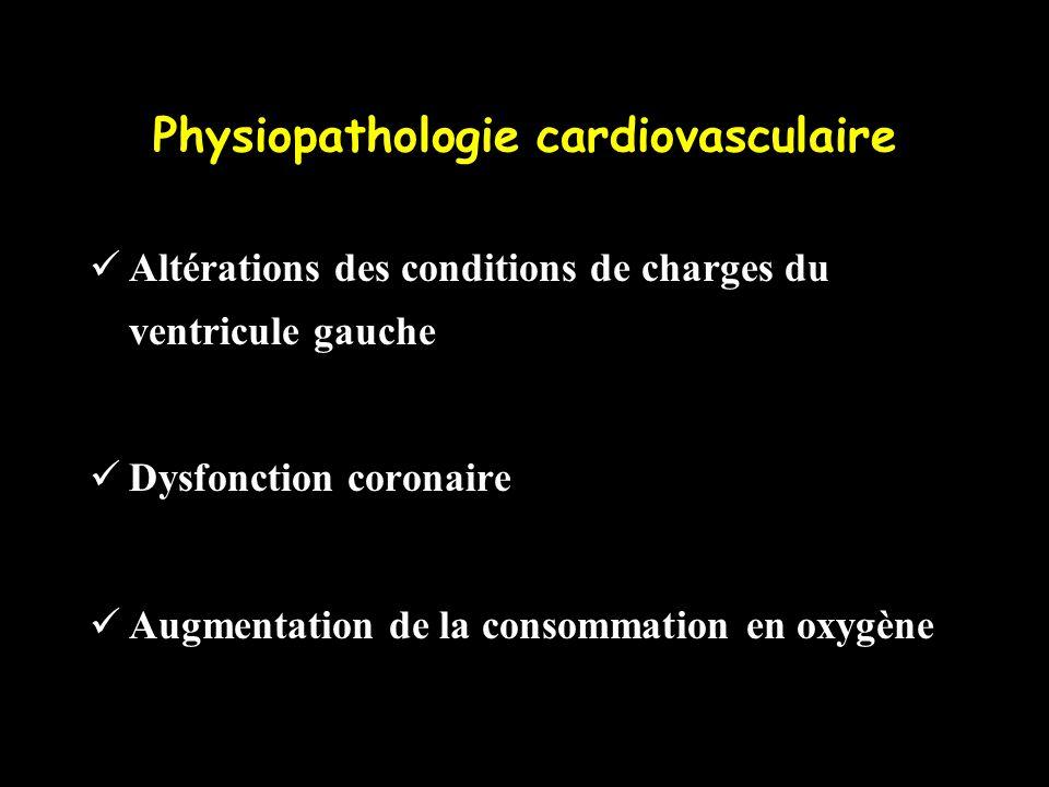 Physiopathologie cardiovasculaire Altérations des conditions de charges du ventricule gauche Dysfonction coronaire Augmentation de la consommation en