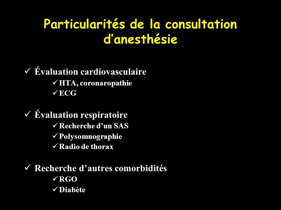 Particularités de la consultation danesthésie Évaluation cardiovasculaire HTA, coronaropathie ECG Évaluation respiratoire Recherche dun SAS Polysomnog