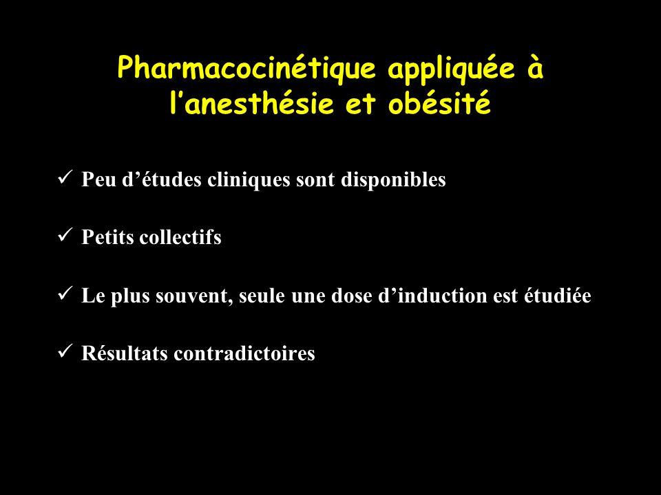 Pharmacocinétique appliquée à lanesthésie et obésité Peu détudes cliniques sont disponibles Petits collectifs Le plus souvent, seule une dose dinducti