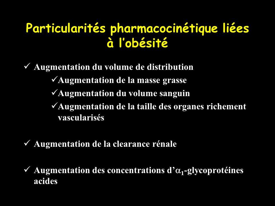Particularités pharmacocinétique liées à lobésité Augmentation du volume de distribution Augmentation de la masse grasse Augmentation du volume sangui