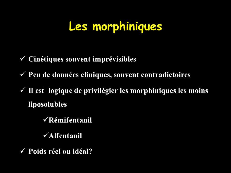 Les morphiniques Cinétiques souvent imprévisibles Peu de données cliniques, souvent contradictoires Il est logique de privilégier les morphiniques les