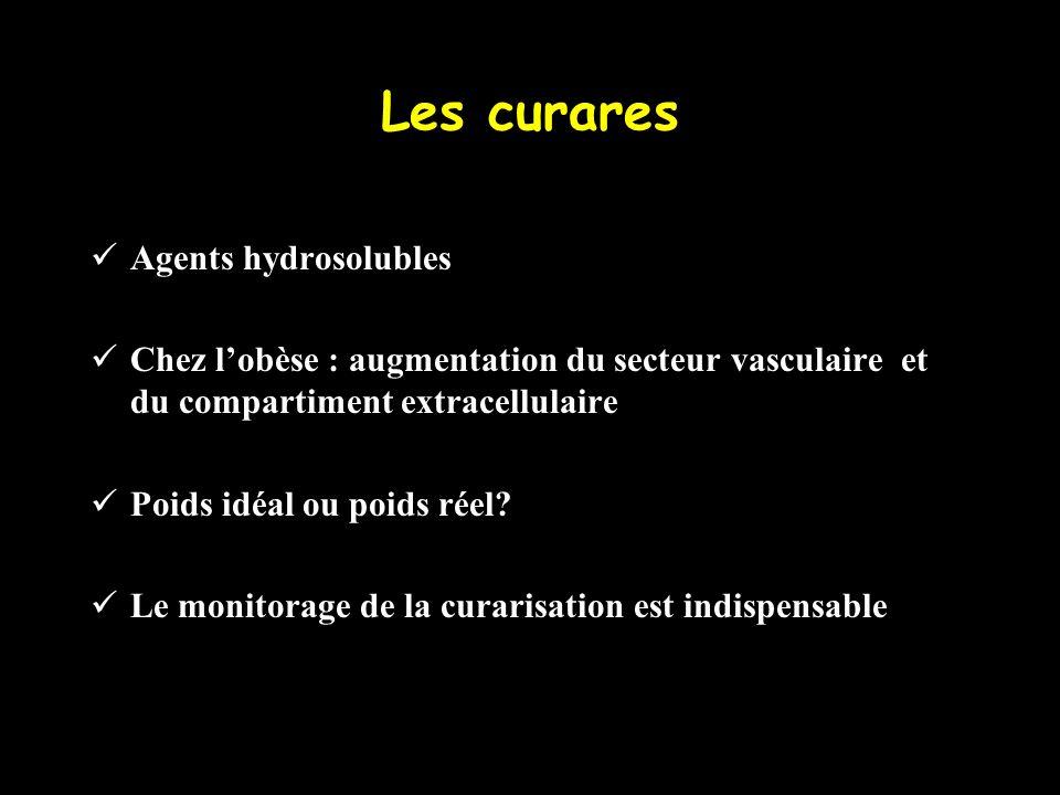 Les curares Agents hydrosolubles Chez lobèse : augmentation du secteur vasculaire et du compartiment extracellulaire Poids idéal ou poids réel? Le mon