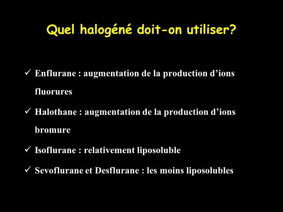 Quel halogéné doit-on utiliser? Enflurane : augmentation de la production dions fluorures Halothane : augmentation de la production dions bromure Isof