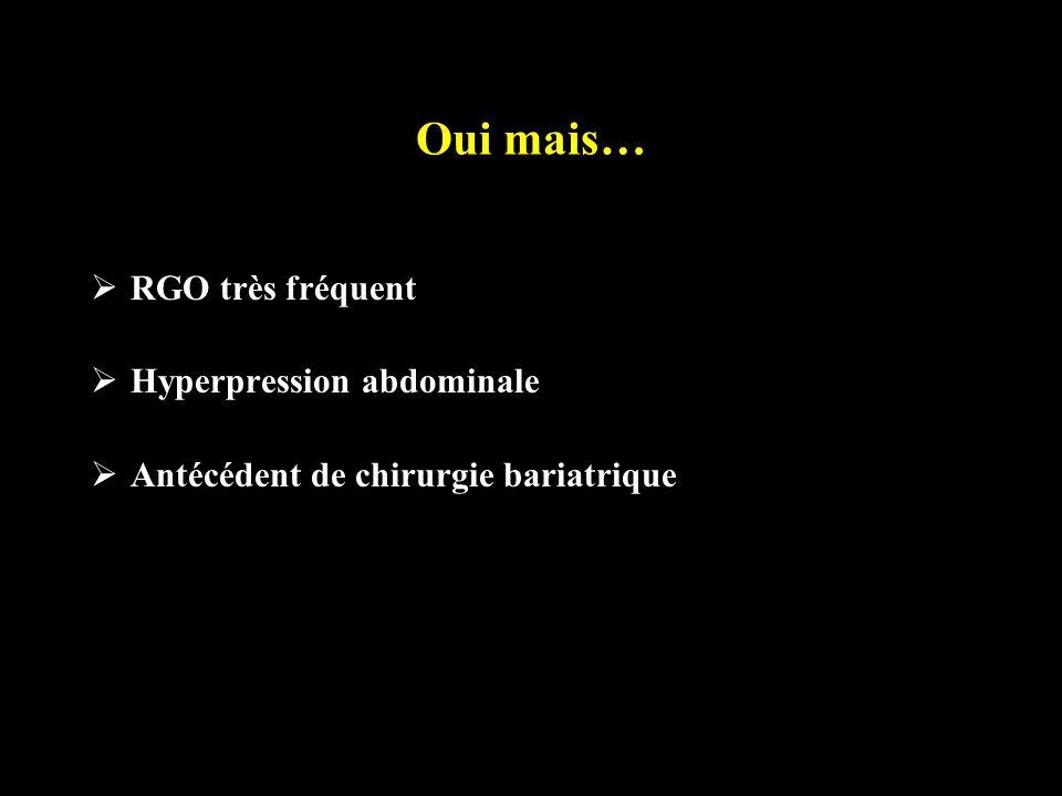 Oui mais… RGO très fréquent Hyperpression abdominale Antécédent de chirurgie bariatrique