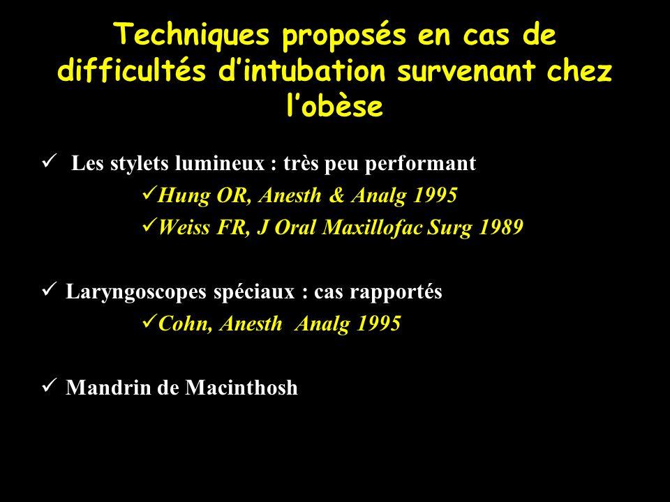 Techniques proposés en cas de difficultés dintubation survenant chez lobèse Les stylets lumineux : très peu performant Hung OR, Anesth & Analg 1995 We