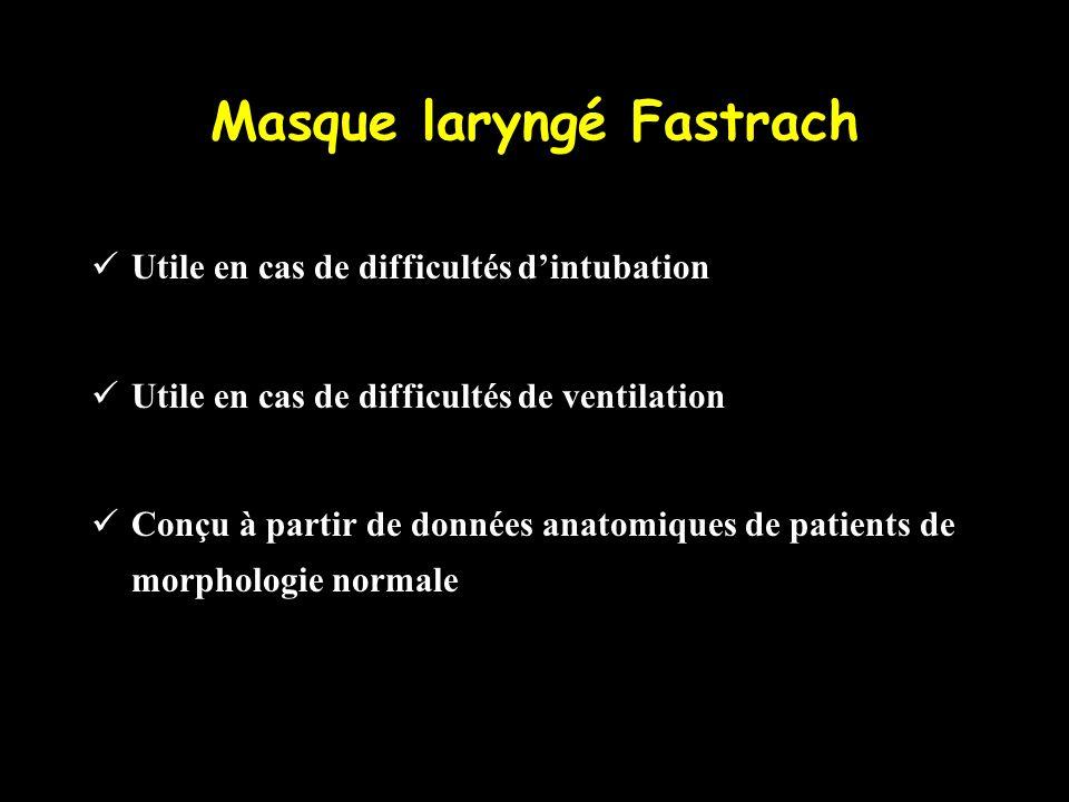 Masque laryngé Fastrach Utile en cas de difficultés dintubation Utile en cas de difficultés de ventilation Conçu à partir de données anatomiques de pa