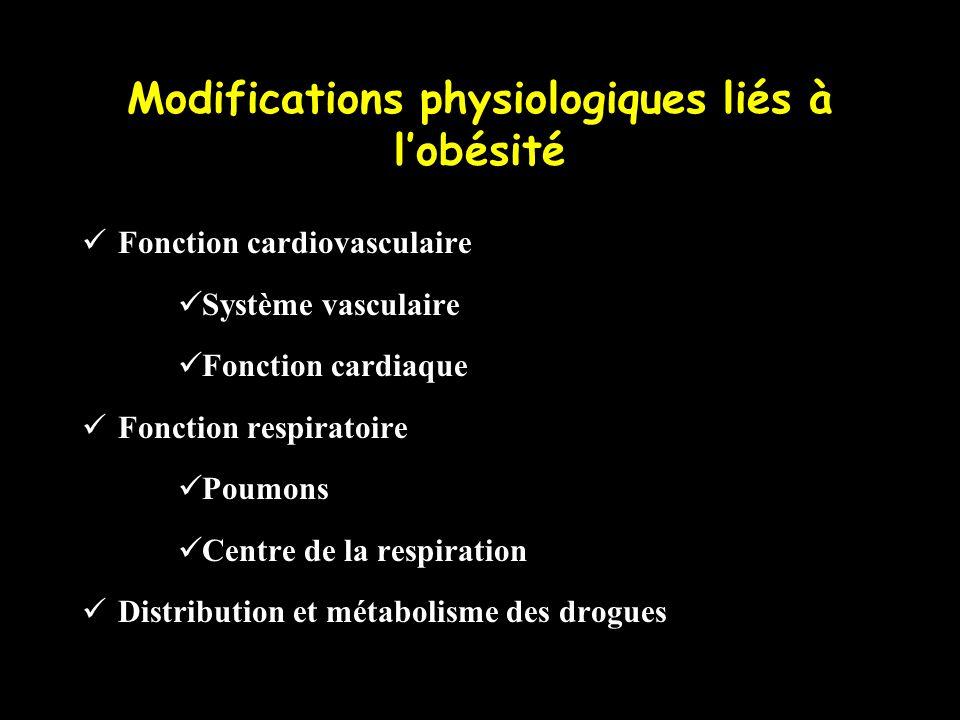 Modifications physiologiques liés à lobésité Fonction cardiovasculaire Système vasculaire Fonction cardiaque Fonction respiratoire Poumons Centre de l