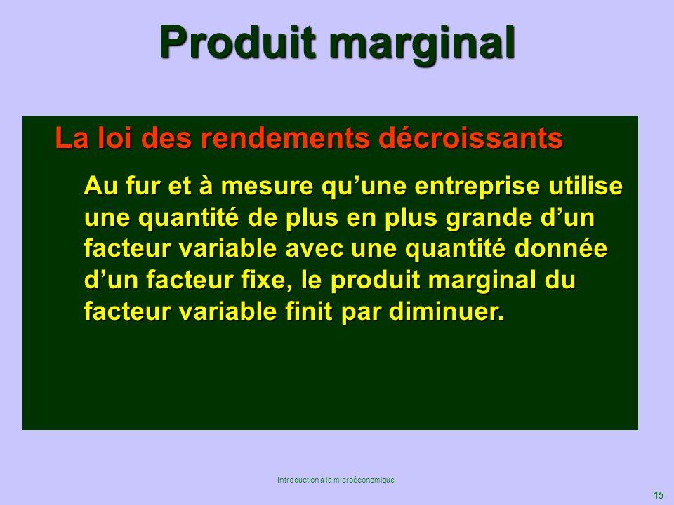 15 Introduction à la microéconomique Produit marginal La loi des rendements décroissants Au fur et à mesure quune entreprise utilise une quantité de p