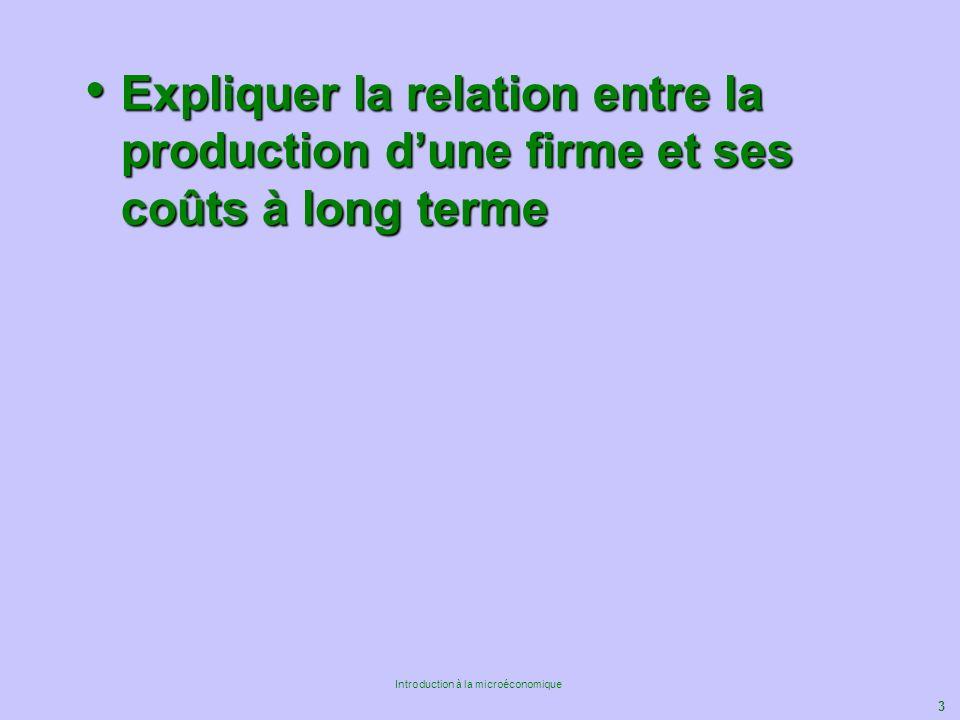 3 Introduction à la microéconomique Expliquer la relation entre la production dune firme et ses coûts à long terme Expliquer la relation entre la prod