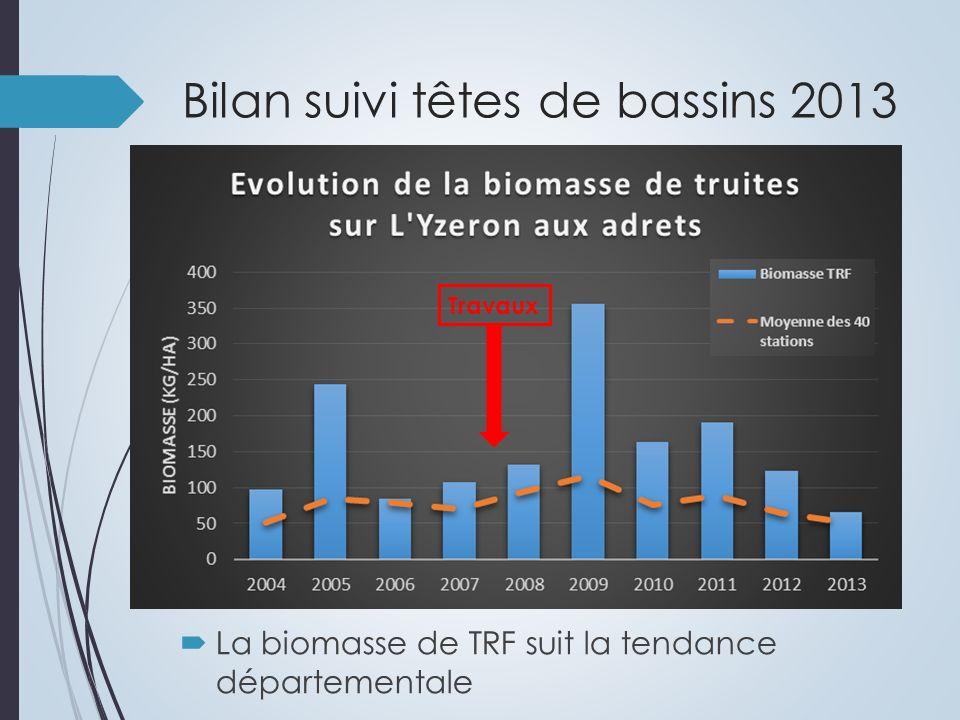Bilan suivi têtes de bassins 2013 La biomasse de TRF suit la tendance départementale Travaux