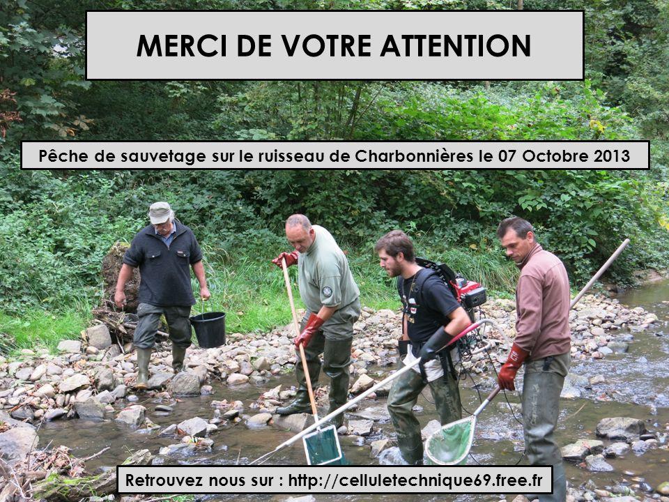 MERCI DE VOTRE ATTENTION Pêche de sauvetage sur le ruisseau de Charbonnières le 07 Octobre 2013 Retrouvez nous sur : http://celluletechnique69.free.fr