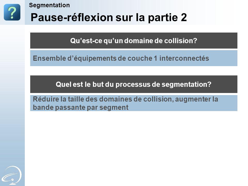 Quest-ce quun domaine de collision? Quel est le but du processus de segmentation? Pause-réflexion sur la partie 2 Segmentation Ensemble déquipements d