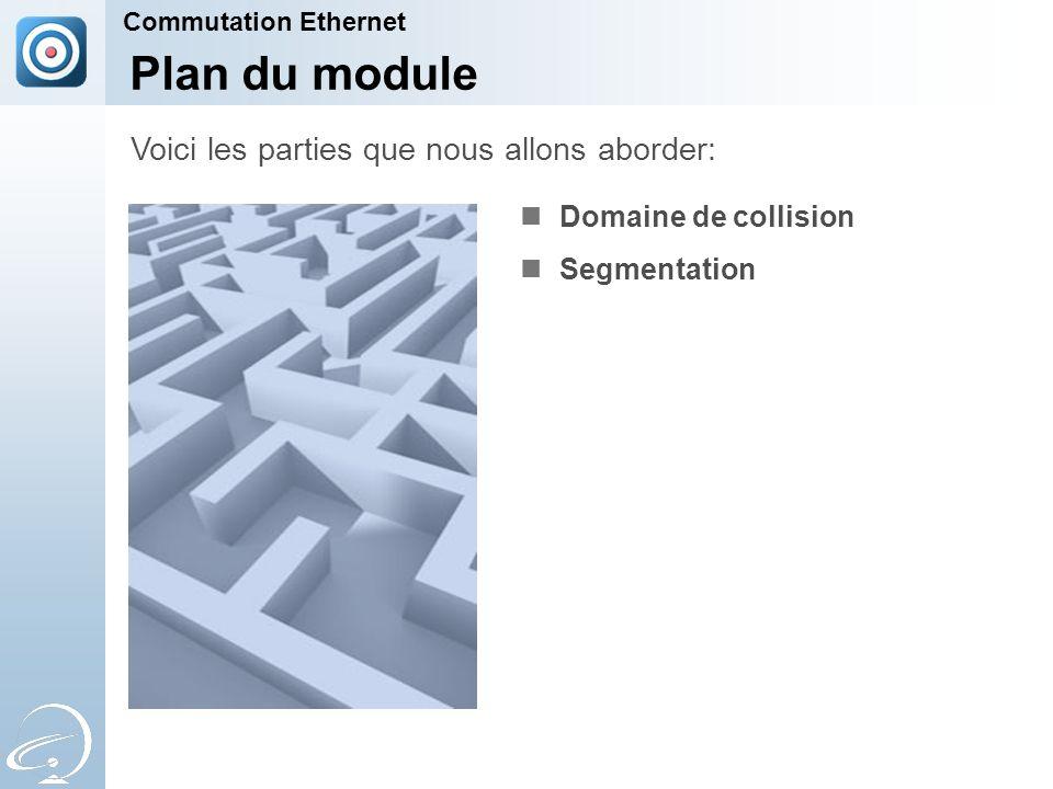 Plan du module Domaine de collision Segmentation Voici les parties que nous allons aborder: Commutation Ethernet