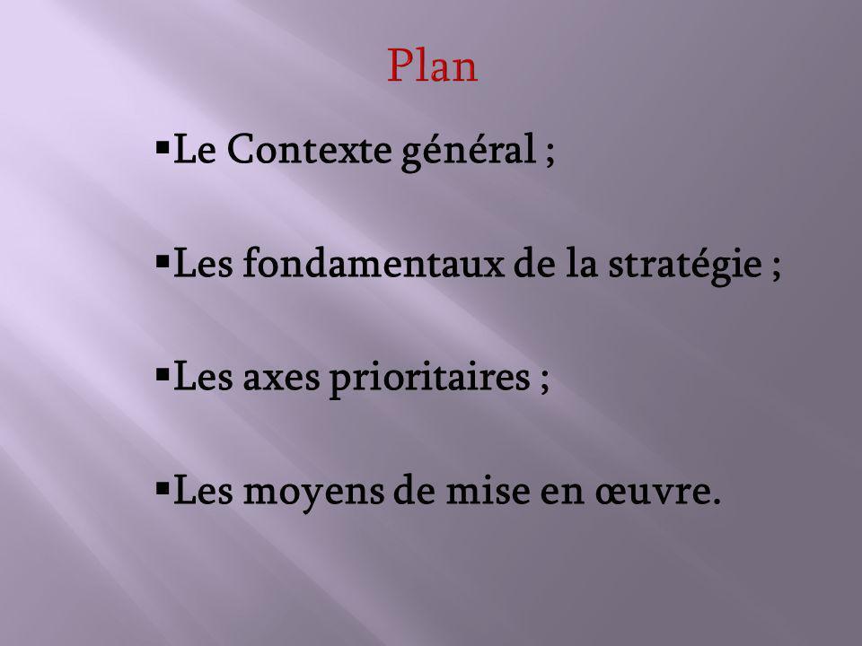 Le Contexte général ; Les fondamentaux de la stratégie ; Les axes prioritaires ; Les moyens de mise en œuvre.