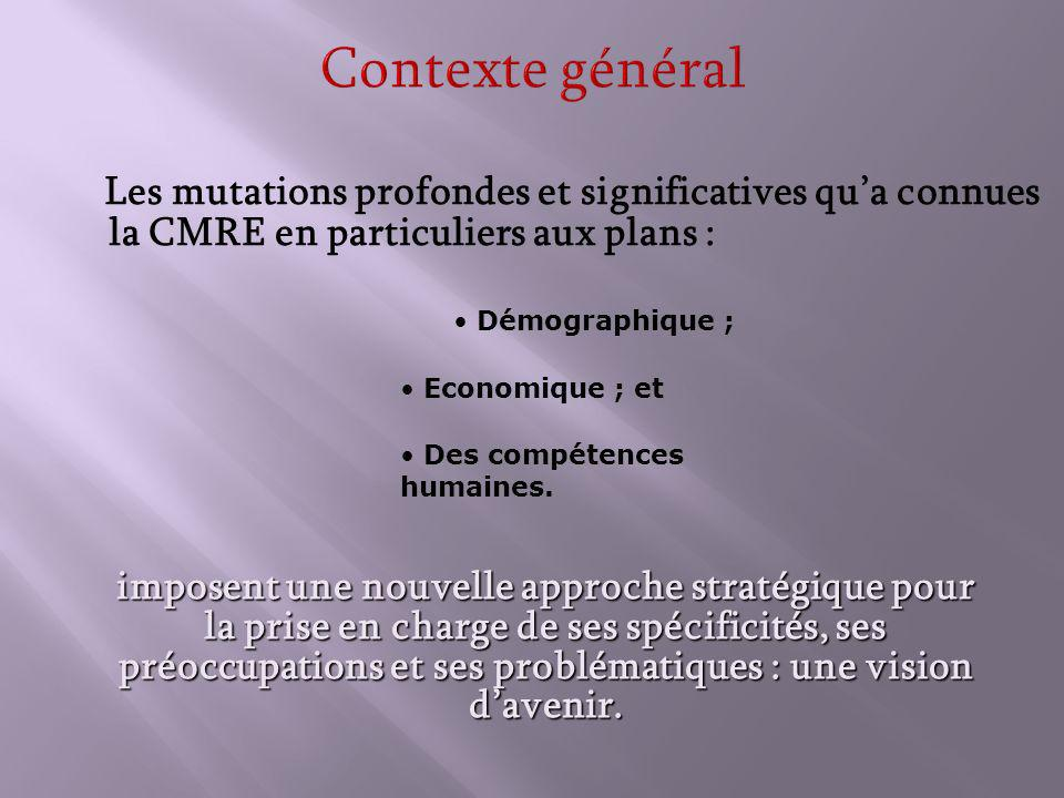 Contexte général Les mutations profondes et significatives qua connues la CMRE en particuliers aux plans : imposent une nouvelle approche stratégique pour la prise en charge de ses spécificités, ses préoccupations et ses problématiques : une vision davenir.
