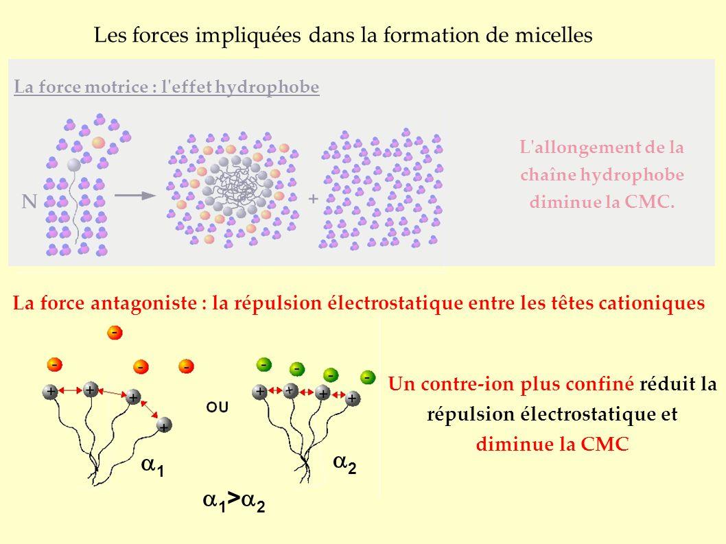 1 2 Les forces impliquées dans la formation de micelles La force motrice : l effet hydrophobe La force antagoniste : la répulsion électrostatique entre les têtes cationiques L allongement de la chaîne hydrophobe diminue la CMC.