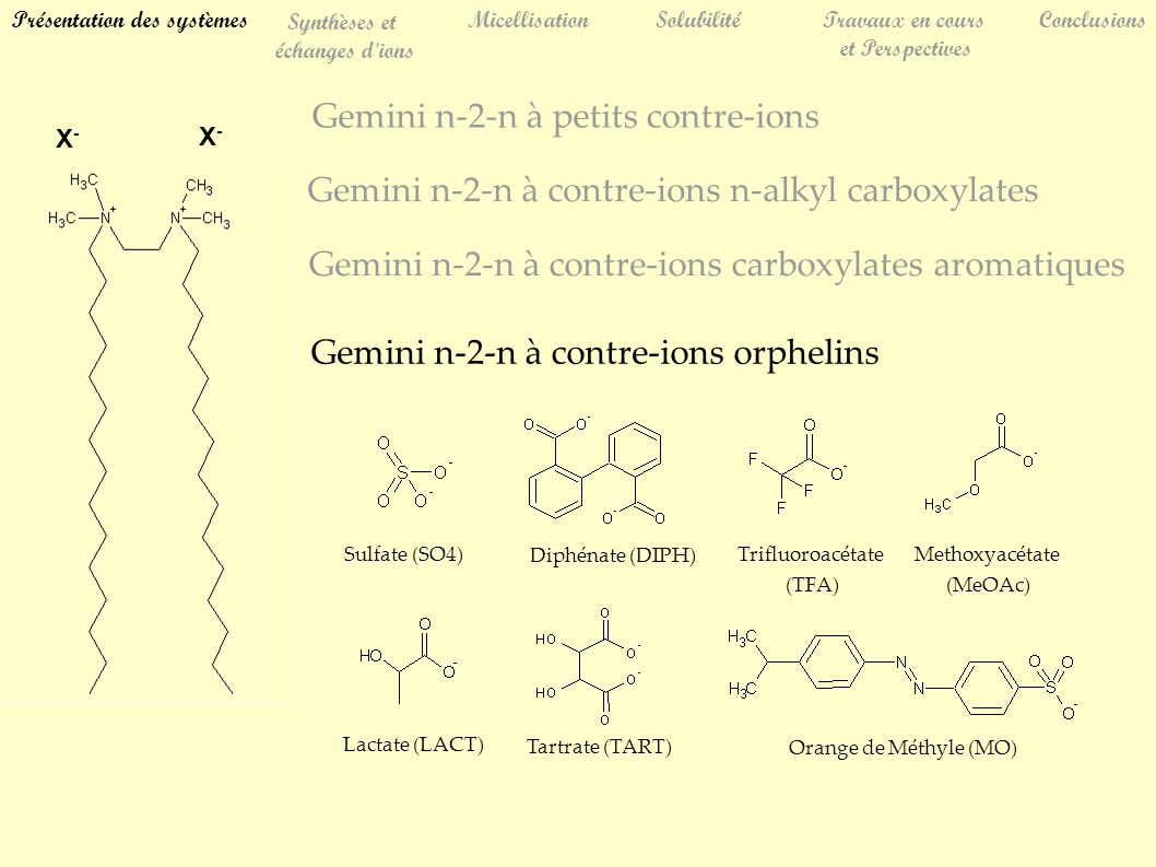 Gemini n-2-n à petits contre-ions Gemini n-2-n à contre-ions carboxylates aromatiques Gemini n-2-n à contre-ions n-alkyl carboxylates Gemini n-2-n à contre-ions orphelins Sulfate (SO4) Diphénate (DIPH) Trifluoroacétate (TFA) Methoxyacétate (MeOAc) Lactate (LACT) Tartrate (TART) Orange de Méthyle (MO) Présentation des systèmes Synthèses et échanges d ions MicellisationSolubilitéTravaux en cours et Perspectives Conclusions X-X- X-X-