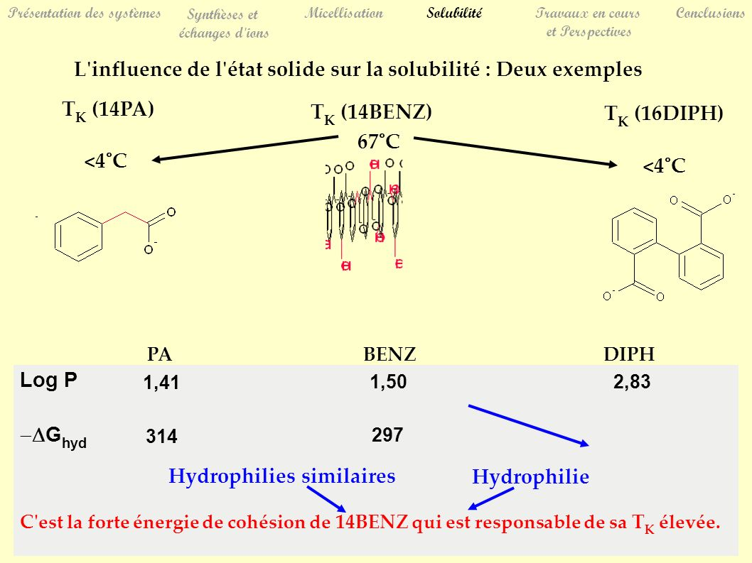 Présentation des systèmes Synthèses et échanges d'ions MicellisationSolubilitéTravaux en cours et Perspectives Conclusions L'influence de l'état solid