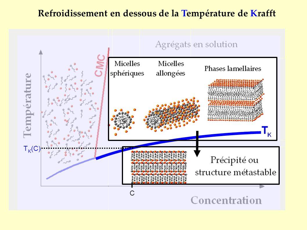 Refroidissement en dessous de la Température de Krafft T K (C) C