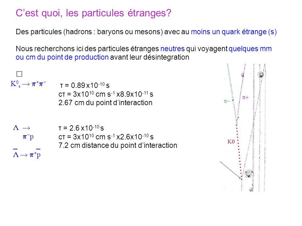 Cest quoi, les particules étranges? Des particules (hadrons : baryons ou mesons) avec au moins un quark étrange (s) Nous recherchons ici des particule