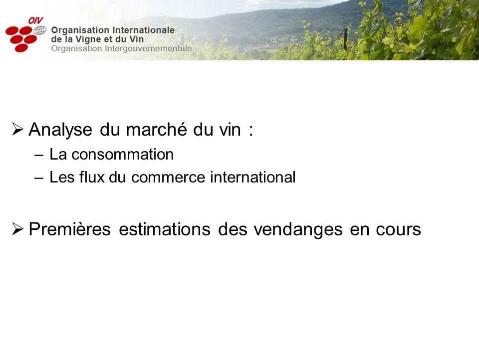 Analyse du marché du vin : –La consommation –Les flux du commerce international Premières estimations des vendanges en cours
