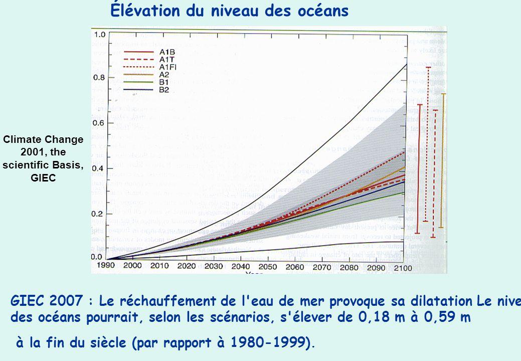 Climate Change 2001, the scientific Basis, GIEC Élévation du niveau des océans GIEC 2007 : Le réchauffement de l'eau de mer provoque sa dilatation Le