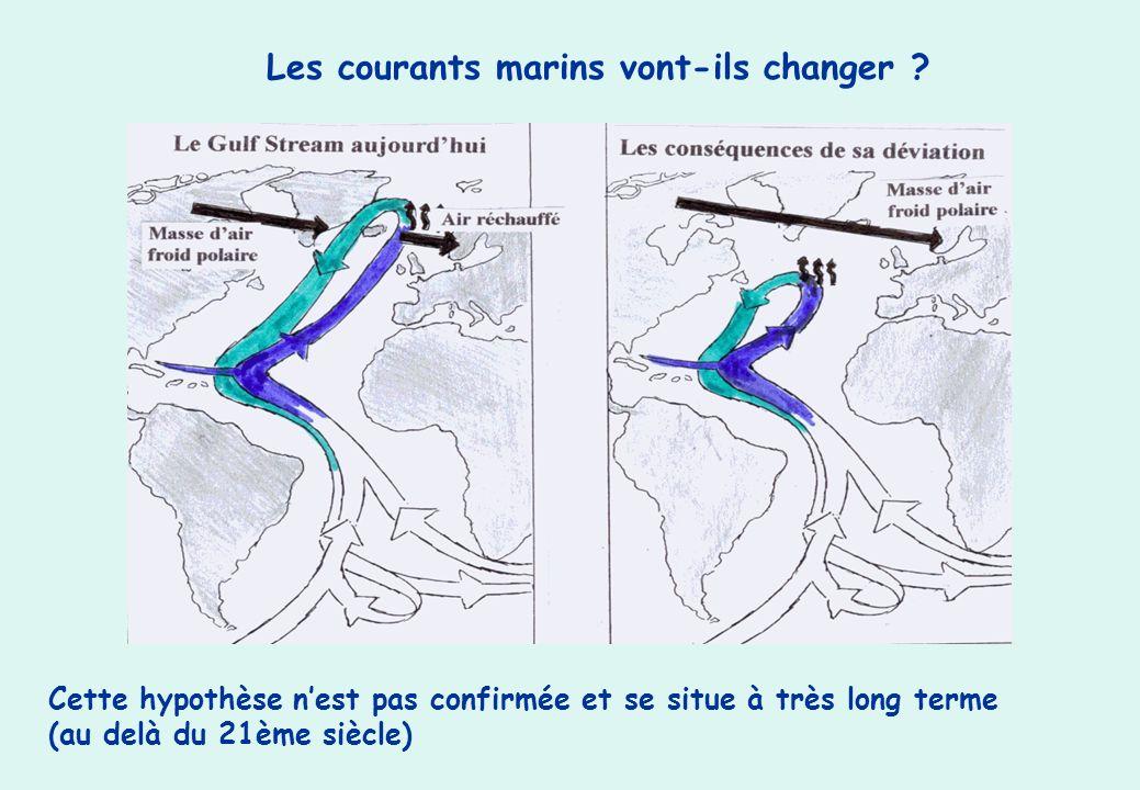Les courants marins vont-ils changer ? Cette hypothèse nest pas confirmée et se situe à très long terme (au delà du 21ème siècle)