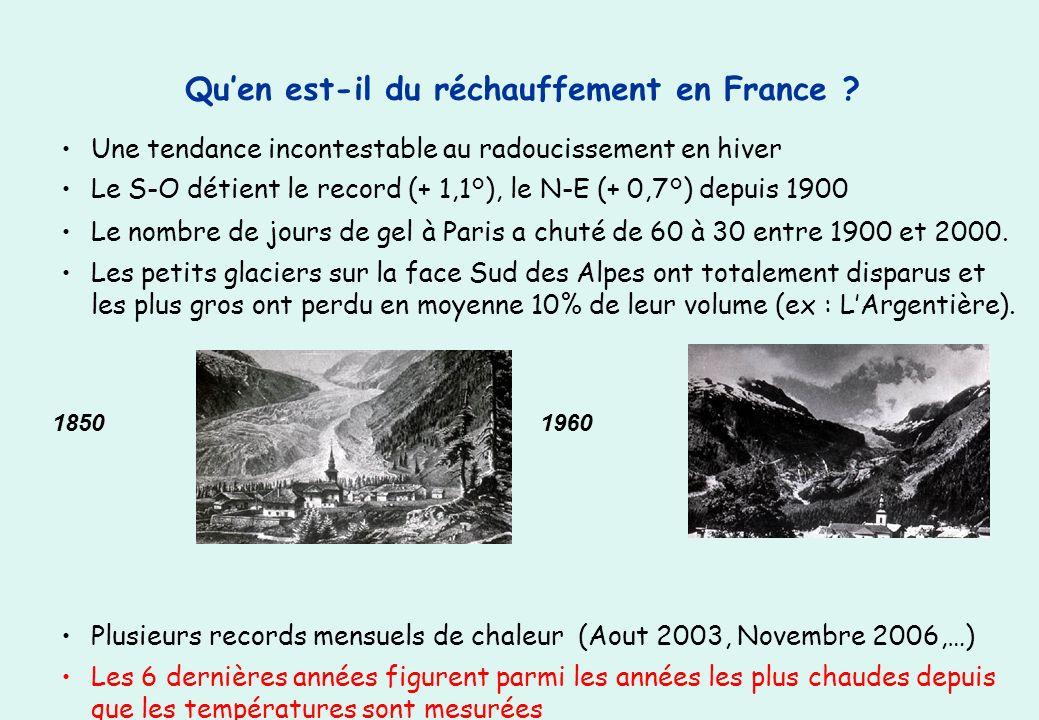 Quen est-il du réchauffement en France ? Une tendance incontestable au radoucissement en hiver Le S-O détient le record (+ 1,1°), le N-E (+ 0,7°) depu