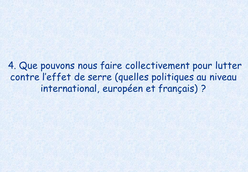 4. Que pouvons nous faire collectivement pour lutter contre leffet de serre (quelles politiques au niveau international, européen et français) ?
