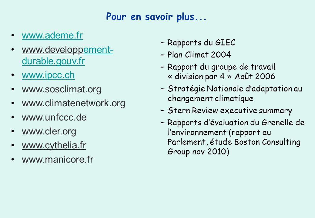 Pour en savoir plus... –Rapports du GIEC –Plan Climat 2004 –Rapport du groupe de travail « division par 4 » Août 2006 –Stratégie Nationale dadaptation