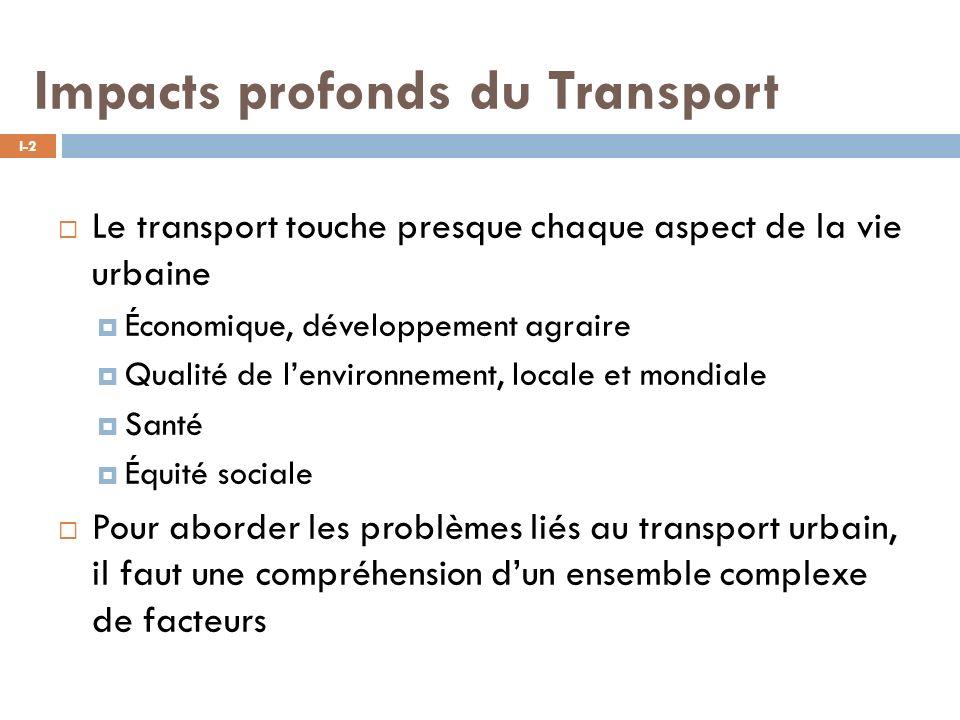 Impacts profonds du Transport I-2 Le transport touche presque chaque aspect de la vie urbaine Économique, développement agraire Qualité de lenvironnement, locale et mondiale Santé Équité sociale Pour aborder les problèmes liés au transport urbain, il faut une compréhension dun ensemble complexe de facteurs