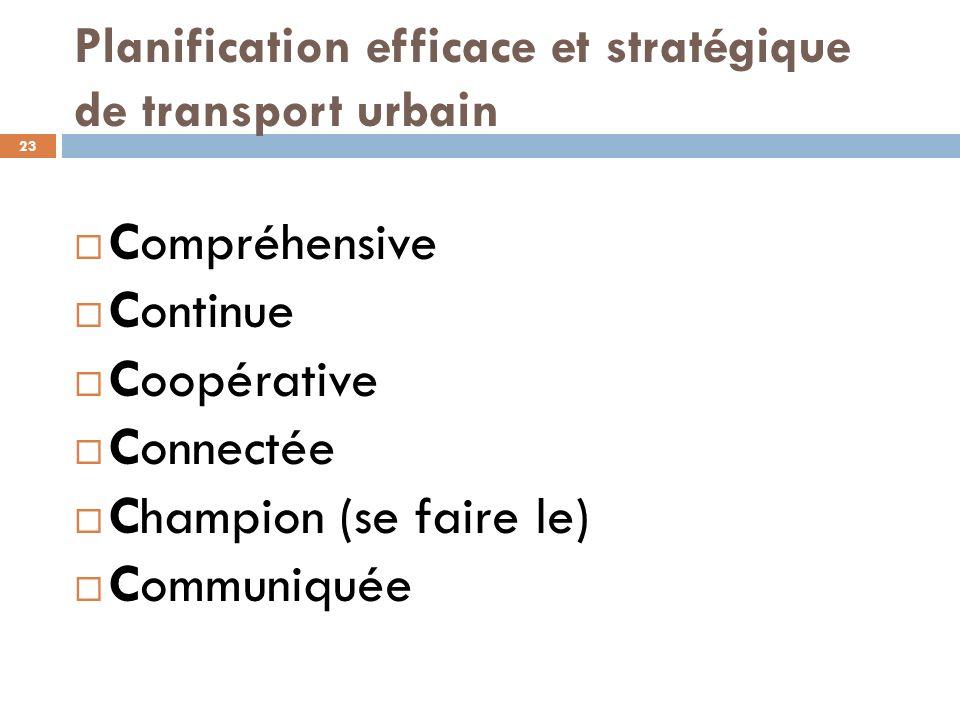 Planification efficace et stratégique de transport urbain 23 Compréhensive Continue Coopérative Connectée Champion (se faire le) Communiquée