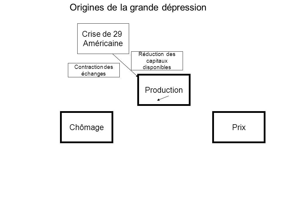 ChômagePrix Production Crise de 29 Américaine Origines de la grande dépression Contraction des échanges Réduction des capitaux disponibles