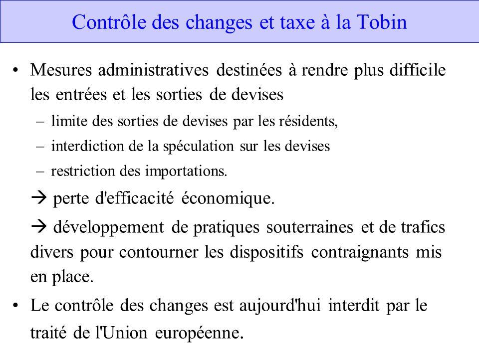 Contrôle des changes et taxe à la Tobin Mesures administratives destinées à rendre plus difficile les entrées et les sorties de devises –limite des so