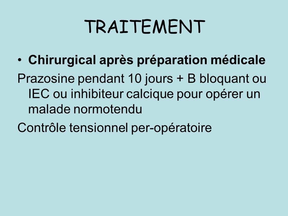 TRAITEMENT Chirurgical après préparation médicale Prazosine pendant 10 jours + B bloquant ou IEC ou inhibiteur calcique pour opérer un malade normotendu Contrôle tensionnel per-opératoire