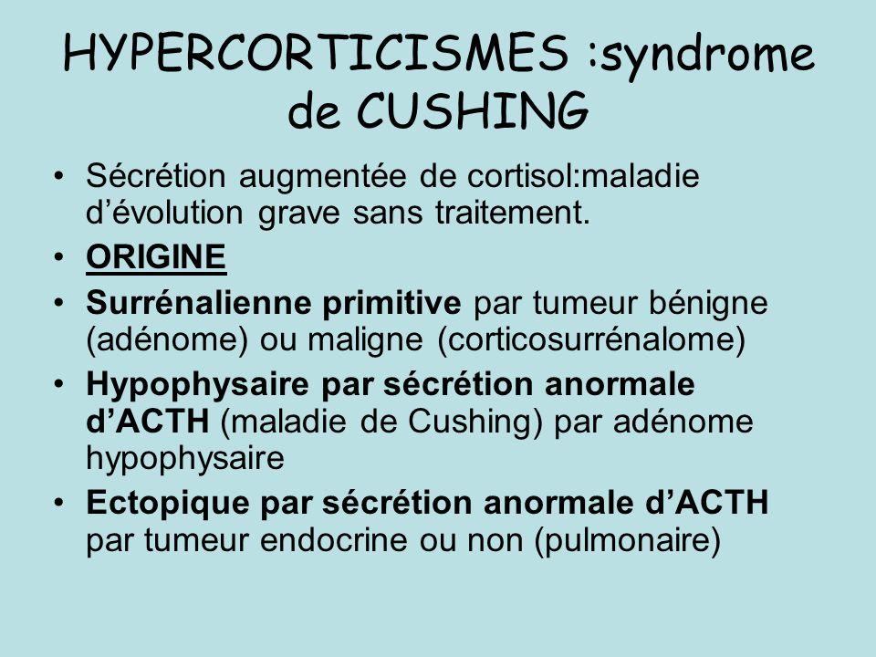 DIAGNOSTIC BIOLOGIQUE HORMONAL Cortisolémie basse le matin (<150 nmol/l) et pas ou faiblement stimulée par ACTH (Synacthène 250 mg IV ou IM) (dosage à 1h) ACTH élevée++ affirmant lorigine surrénalienne primitive de la maladie