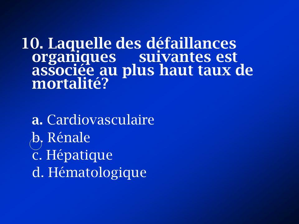 10. Laquelle des défaillances organiques suivantes est associée au plus haut taux de mortalité? a. Cardiovasculaire b. Rénale c. Hépatique d. Hématolo