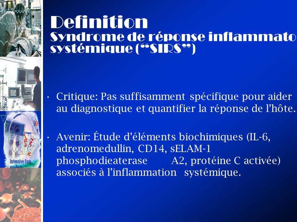 Definition Syndrome de réponse inflammatoire systémique (SIRS) Critique: Pas suffisamment spécifique pour aider au diagnostique et quantifier la réponse de lhôte.