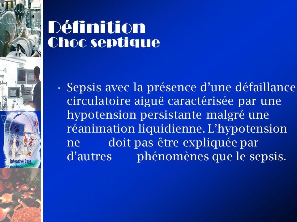 Définition Choc septique Sepsis avec la présence dune défaillance circulatoire aiguë caractérisée par une hypotension persistante malgré une réanimati